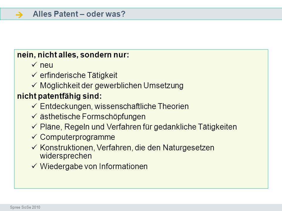  Alles Patent – oder was nein, nicht alles, sondern nur: neu
