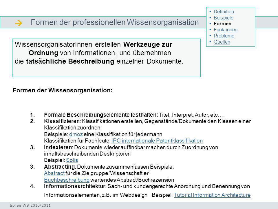  Formen der professionellen Wissensorganisation