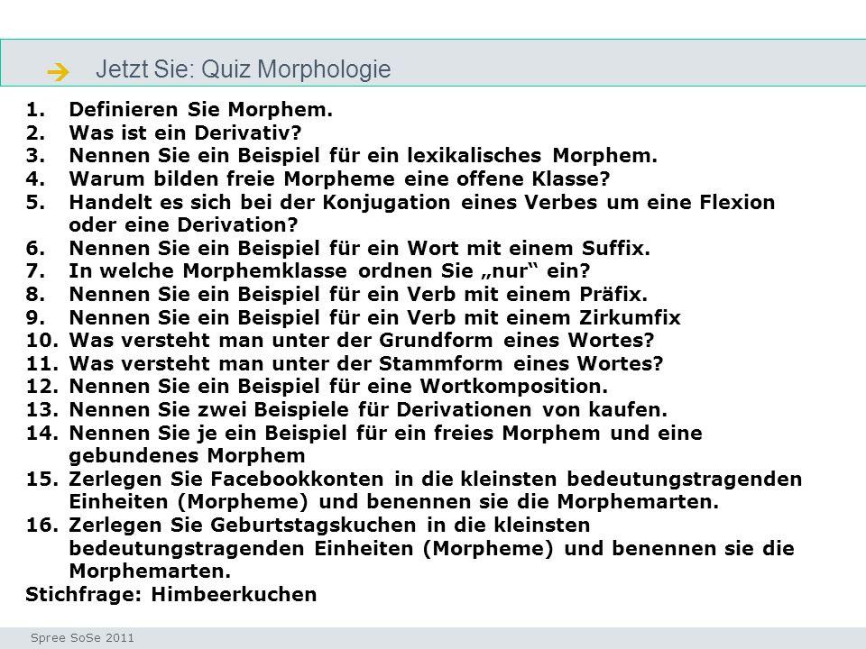  Jetzt Sie: Quiz Morphologie Definieren Sie Morphem.