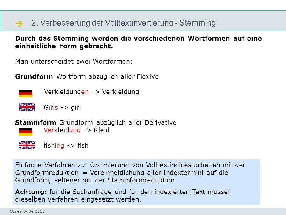  2. Verbesserung der Volltextinvertierung - Stemming