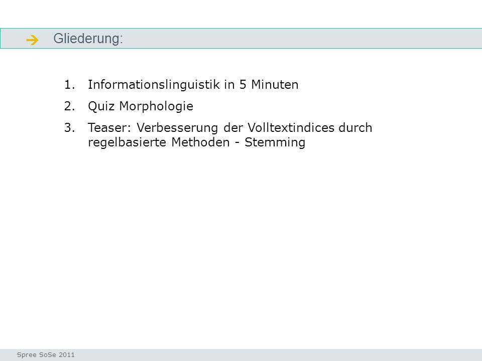  Gliederung: Informationslinguistik in 5 Minuten Quiz Morphologie