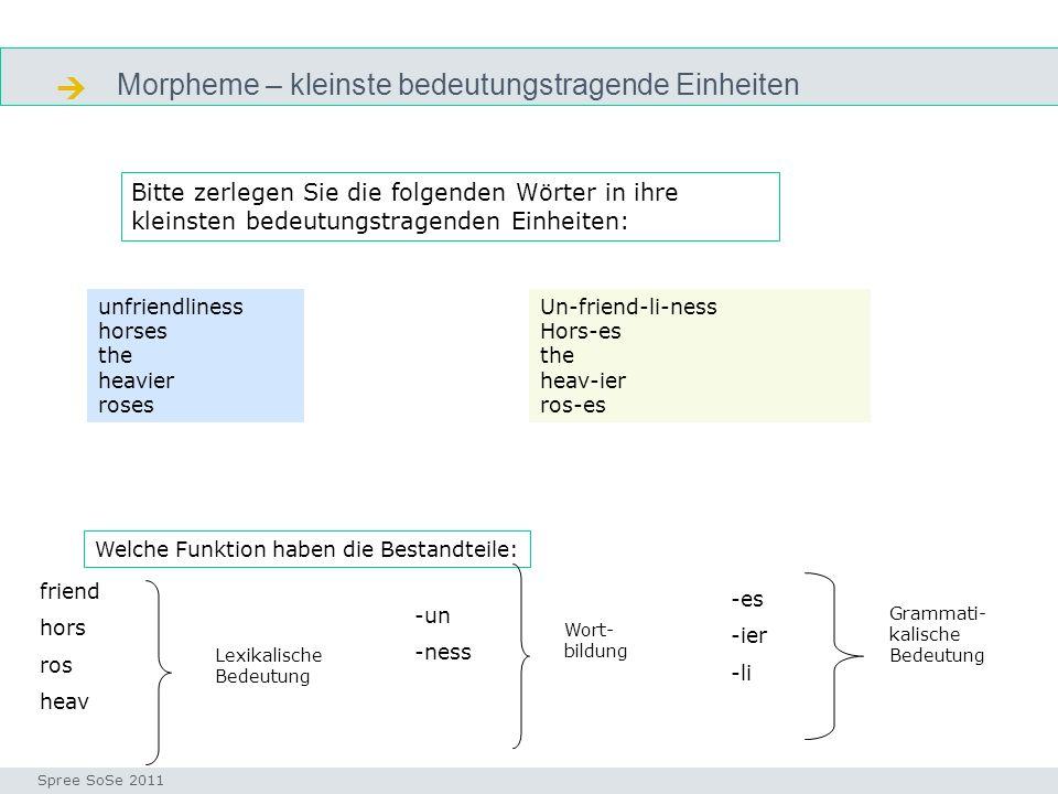  Morpheme – kleinste bedeutungstragende Einheiten