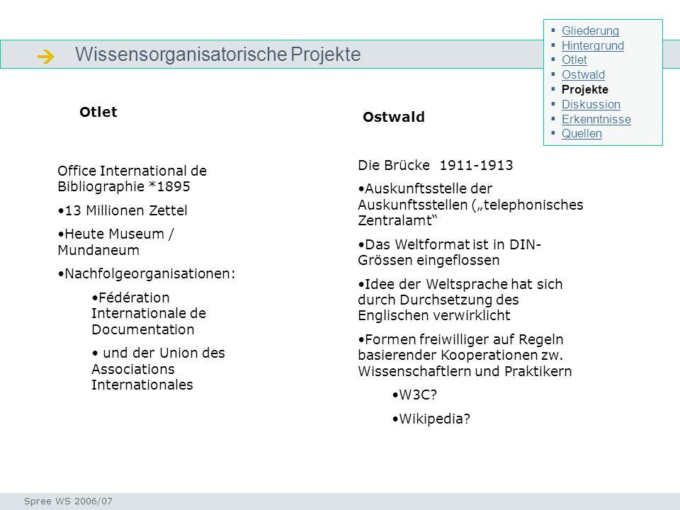  Wissensorganisatorische Projekte Otlet Ostwald Die Brücke 1911-1913