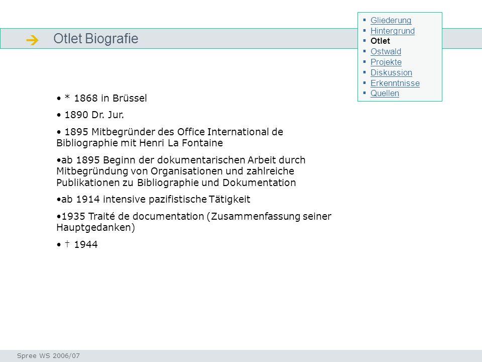  Otlet Biografie * 1868 in Brüssel 1890 Dr. Jur.