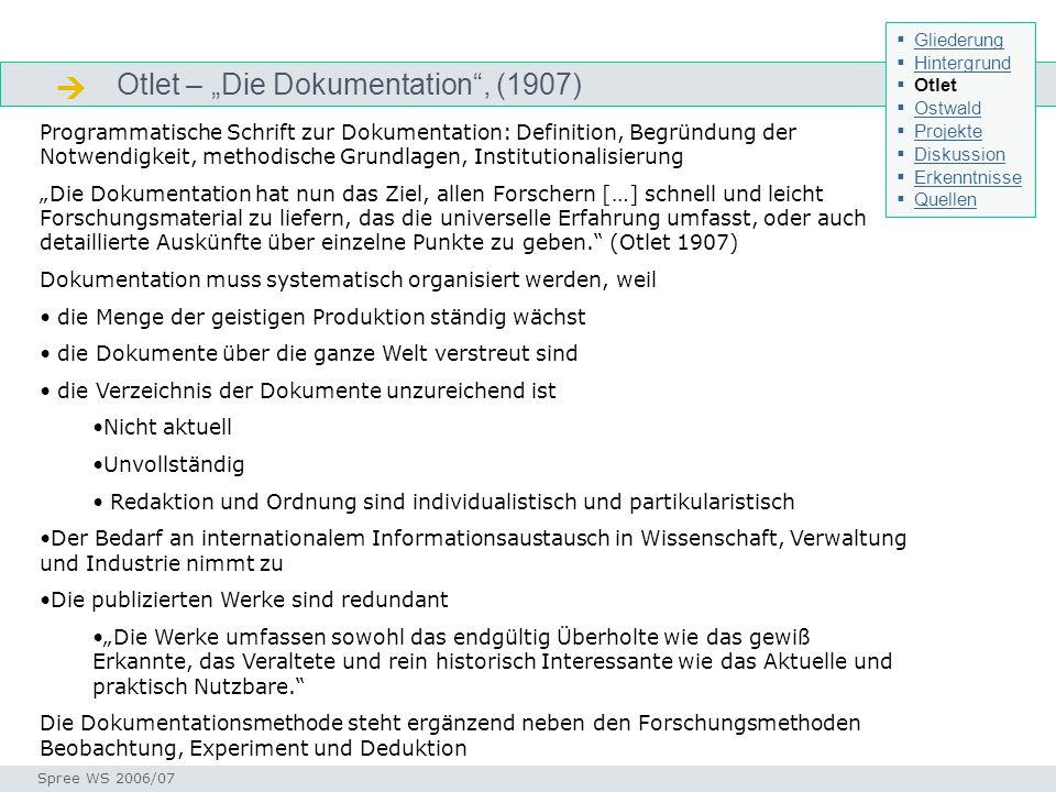 " Otlet – ""Die Dokumentation , (1907)"