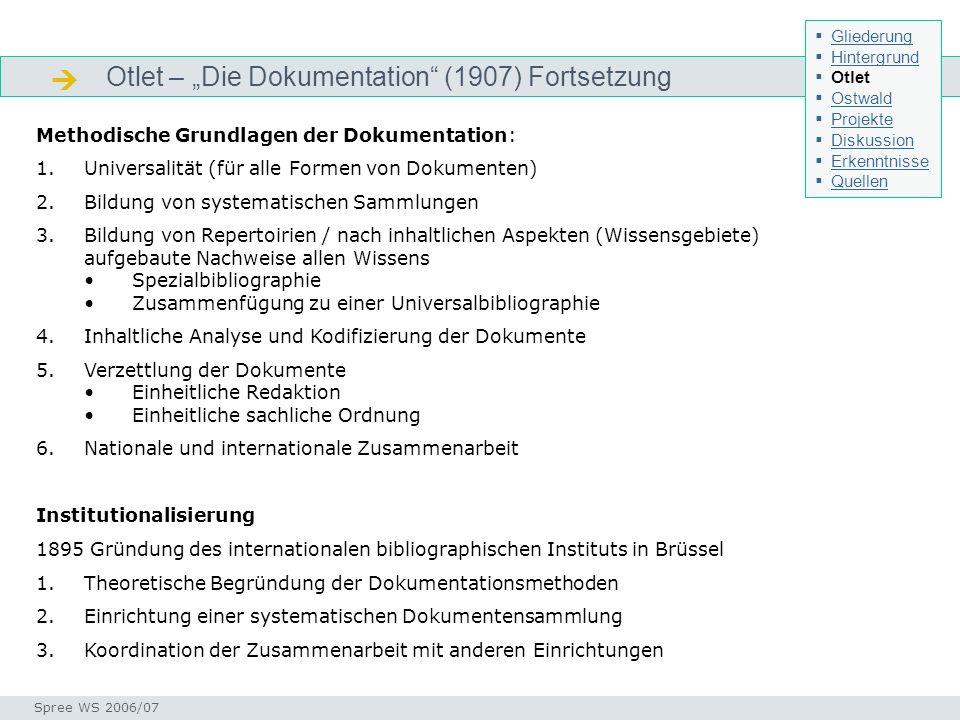 " Otlet – ""Die Dokumentation (1907) Fortsetzung"