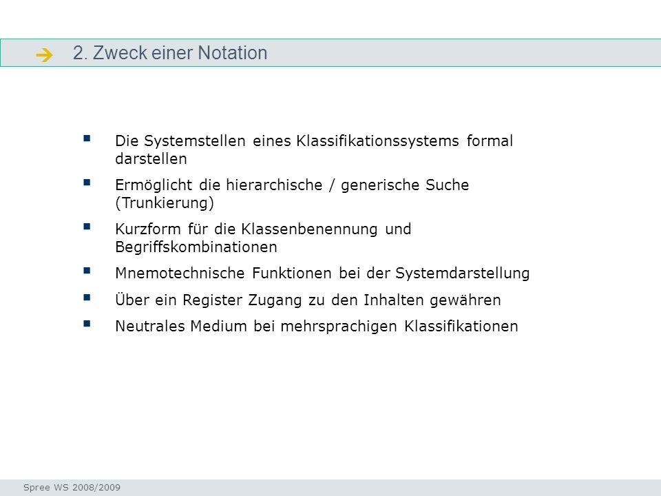 2. Zweck einer Notation. Zweck. Die Systemstellen eines Klassifikationssystems formal darstellen.