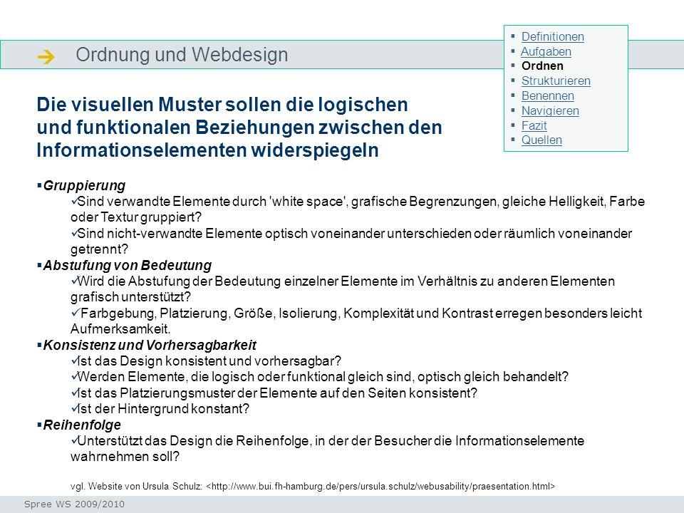  Ordnung und Webdesign Die visuellen Muster sollen die logischen