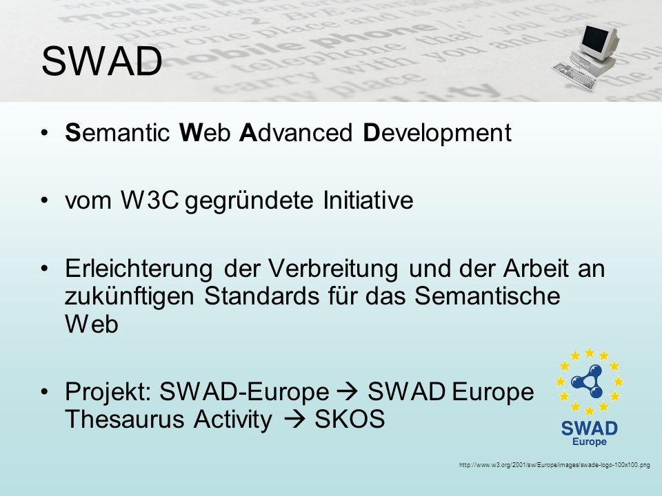SWAD Semantic Web Advanced Development vom W3C gegründete Initiative