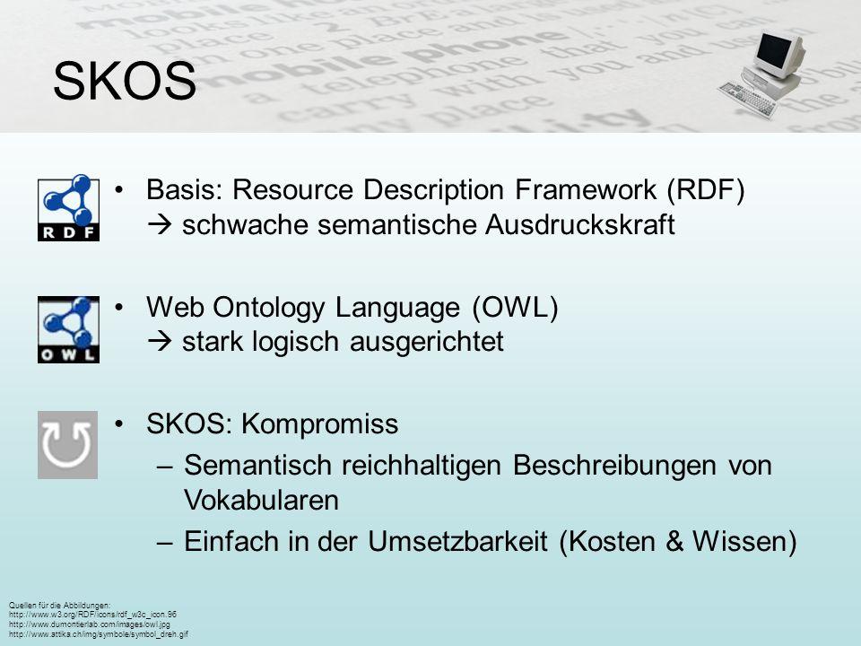 SKOS Basis: Resource Description Framework (RDF)  schwache semantische Ausdruckskraft. Web Ontology Language (OWL)  stark logisch ausgerichtet.