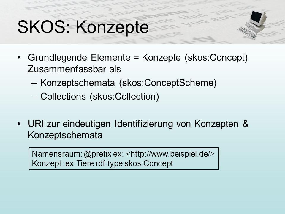 SKOS: Konzepte Grundlegende Elemente = Konzepte (skos:Concept) Zusammenfassbar als. Konzeptschemata (skos:ConceptScheme)