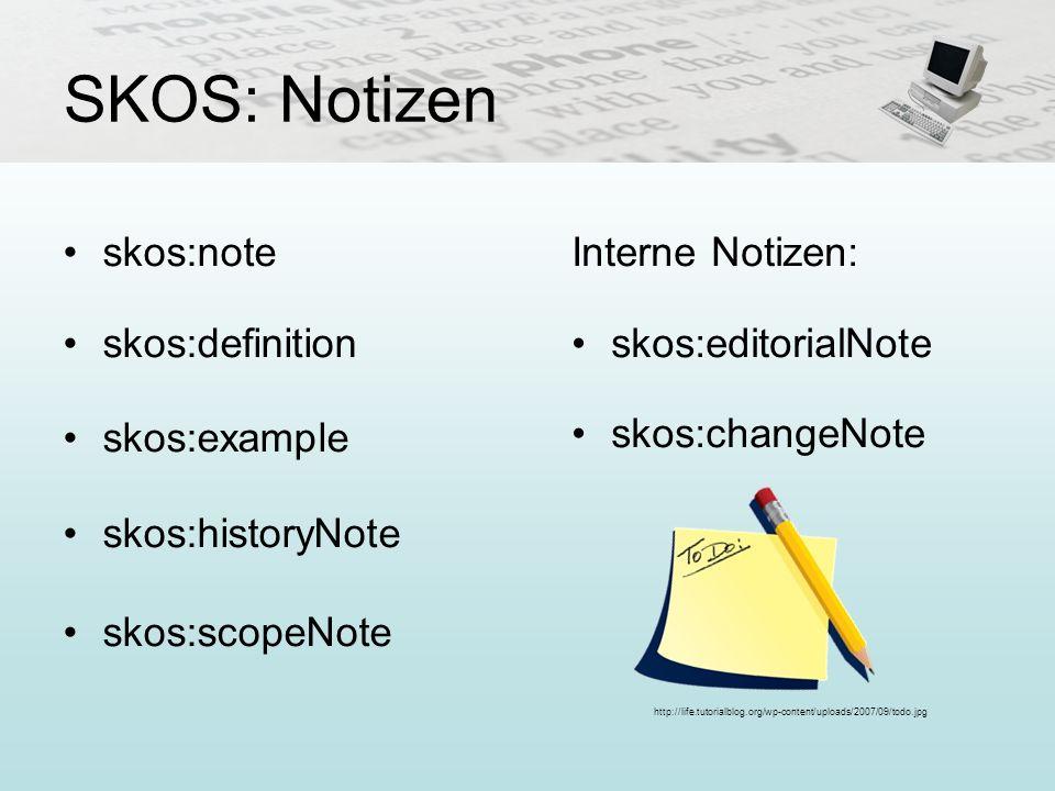 SKOS: Notizen skos:note skos:definition skos:example skos:historyNote