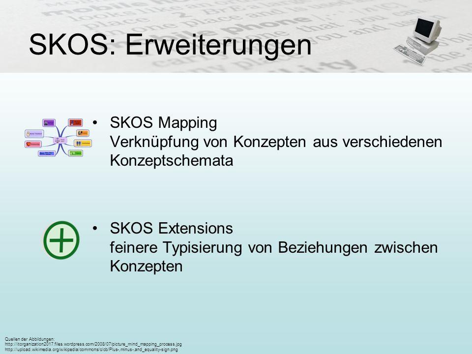 SKOS: Erweiterungen SKOS Mapping Verknüpfung von Konzepten aus verschiedenen Konzeptschemata.