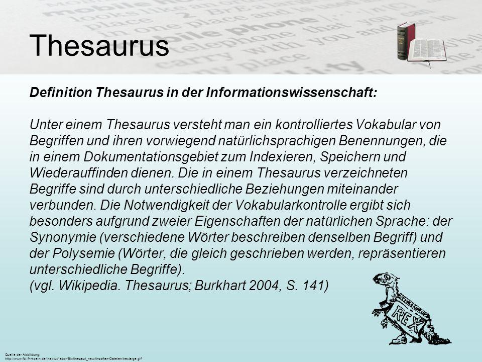 Thesaurus Definition Thesaurus in der Informationswissenschaft: