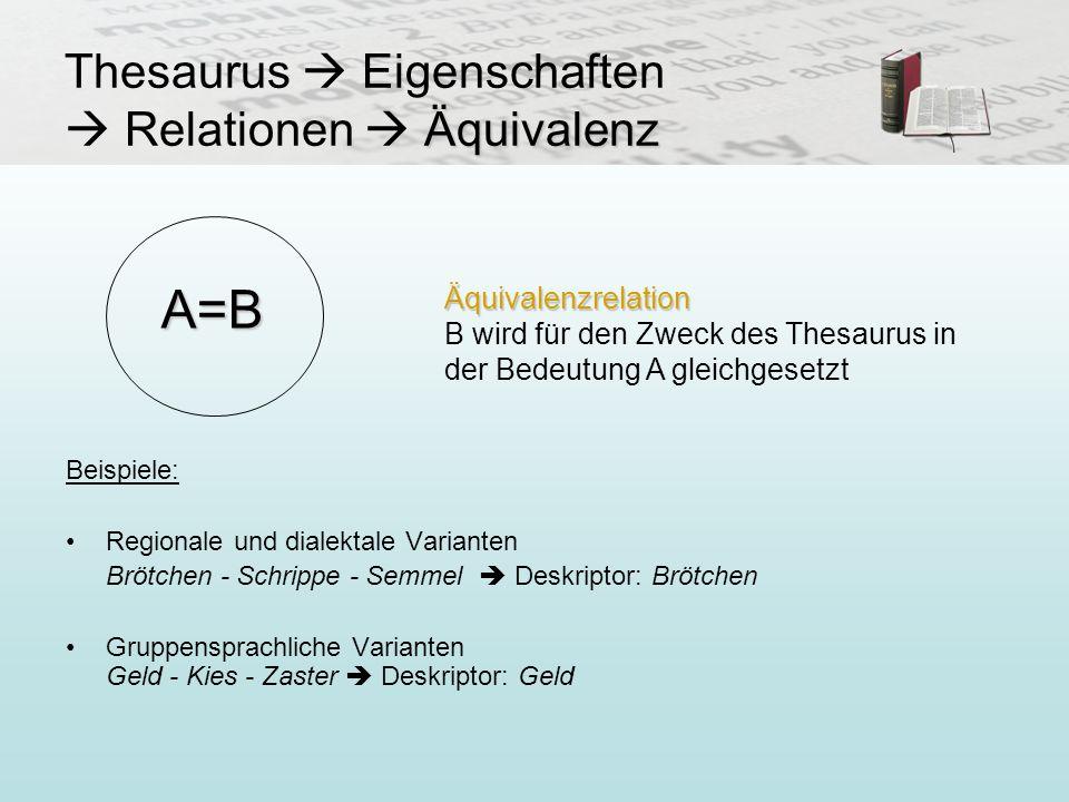 Thesaurus  Eigenschaften  Relationen  Äquivalenz