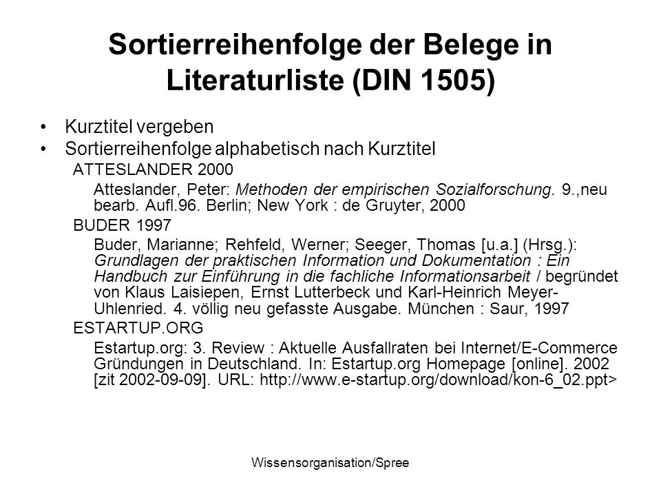 Sortierreihenfolge der Belege in Literaturliste (DIN 1505)