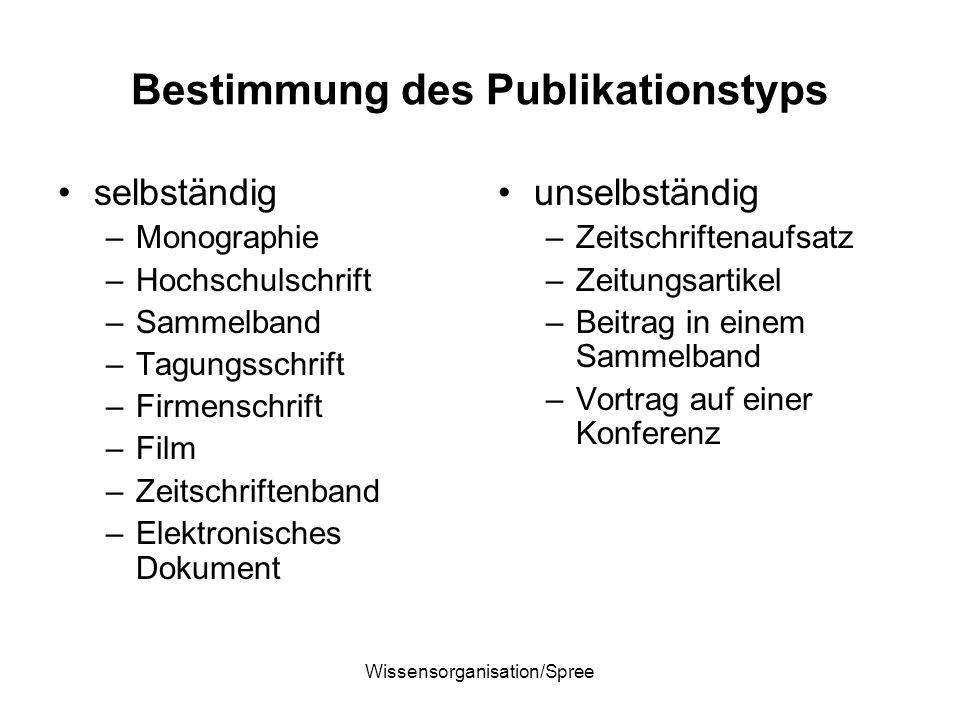 Bestimmung des Publikationstyps