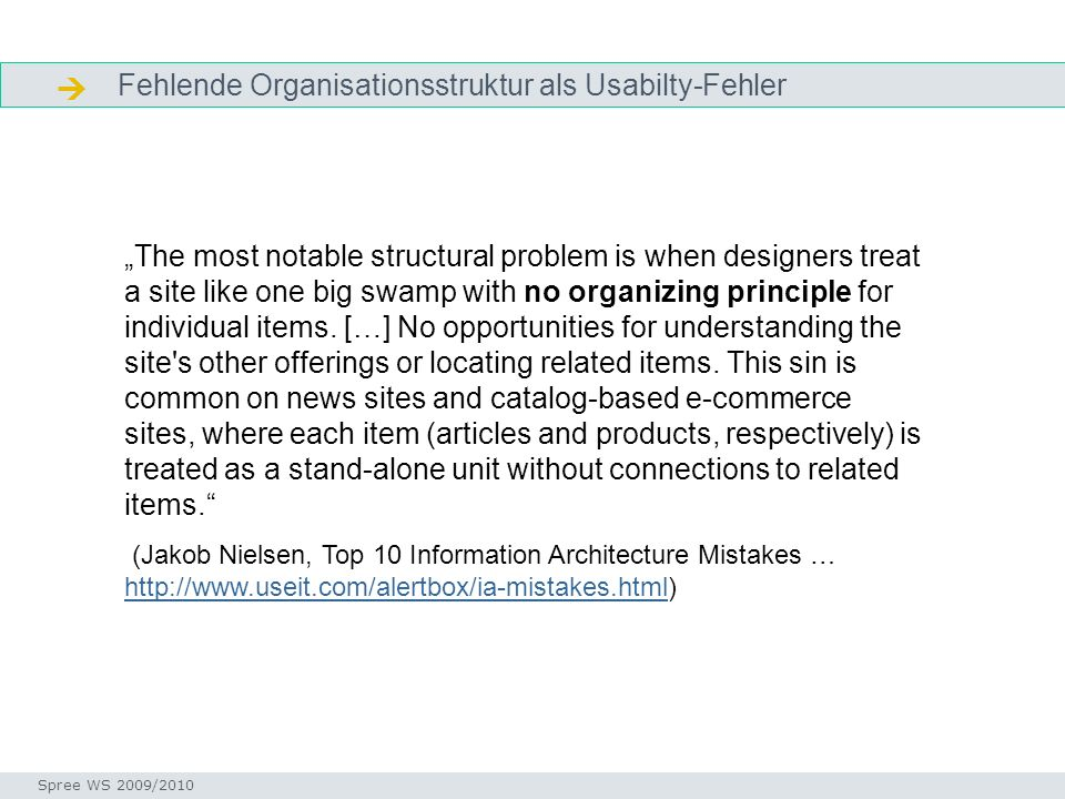  Fehlende Organisationsstruktur als Usabilty-Fehler