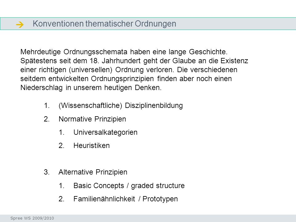  Konventionen thematischer Ordnungen