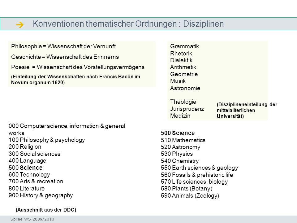  Konventionen thematischer Ordnungen : Disziplinen