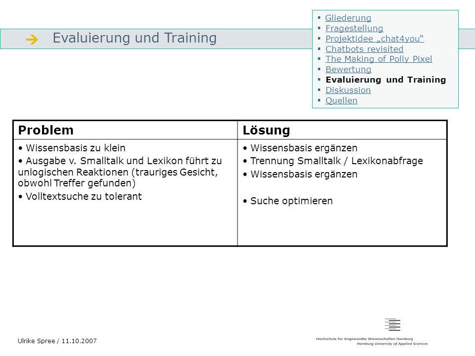  Evaluierung und Training Problem Lösung Wissensbasis zu klein