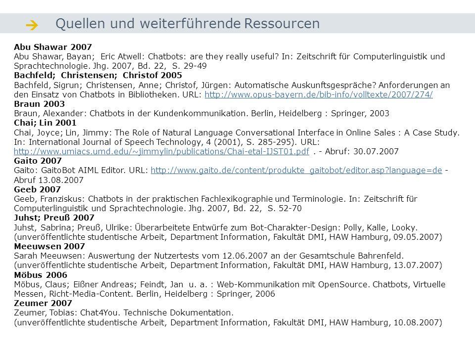  Quellen und weiterführende Ressourcen Abu Shawar 2007