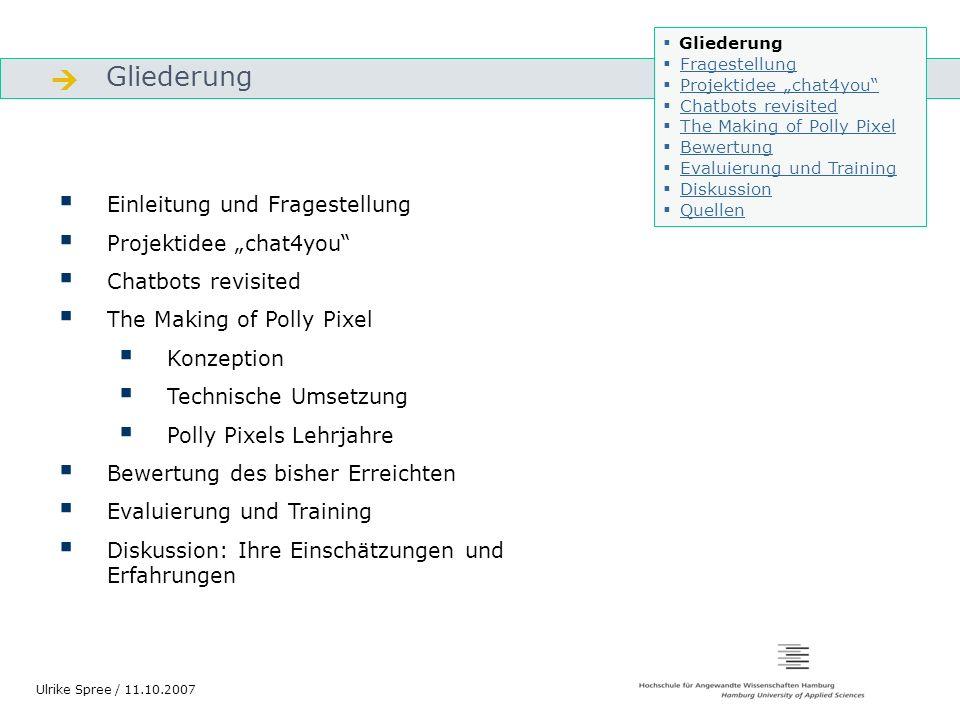 """ Gliederung Einleitung und Fragestellung Projektidee """"chat4you"""