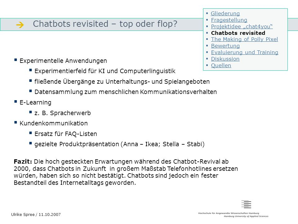  Chatbots revisited – top oder flop Experimentelle Anwendungen