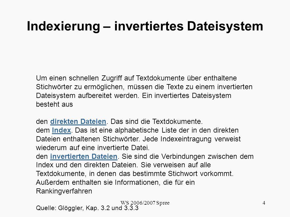 Indexierung – invertiertes Dateisystem
