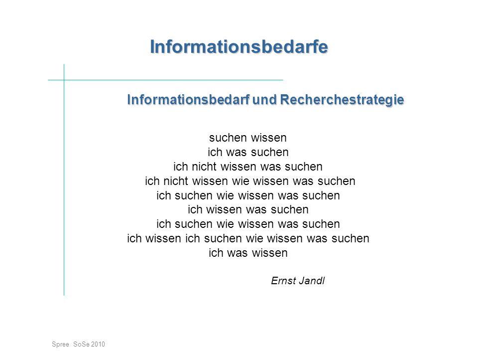 Informationsbedarf und Recherchestrategie