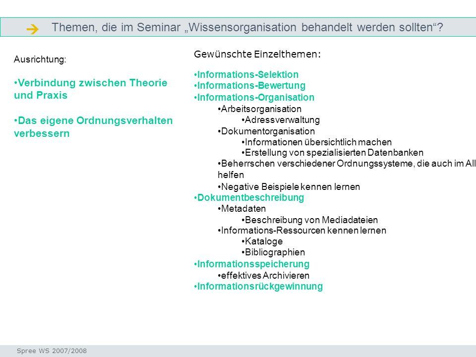 """ Themen, die im Seminar """"Wissensorganisation behandelt werden sollten Gewünschte Einzelthemen: Informations-Selektion."""