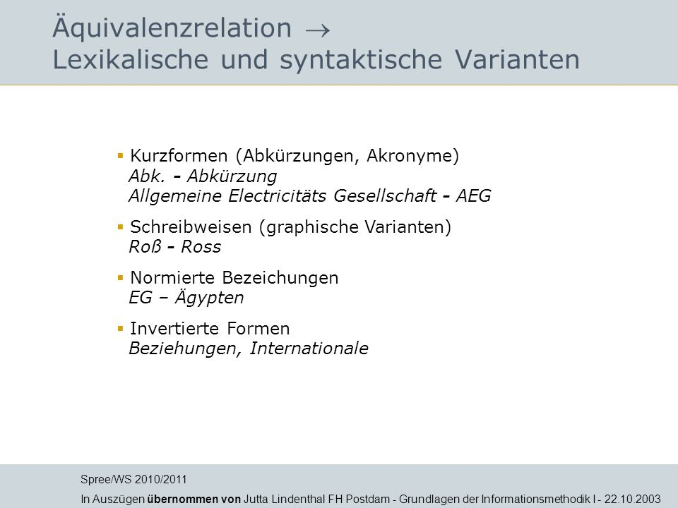 Äquivalenzrelation  Lexikalische und syntaktische Varianten