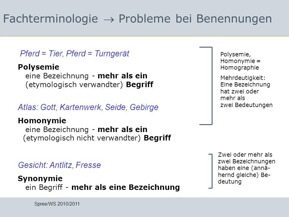 Fachterminologie  Probleme bei Benennungen