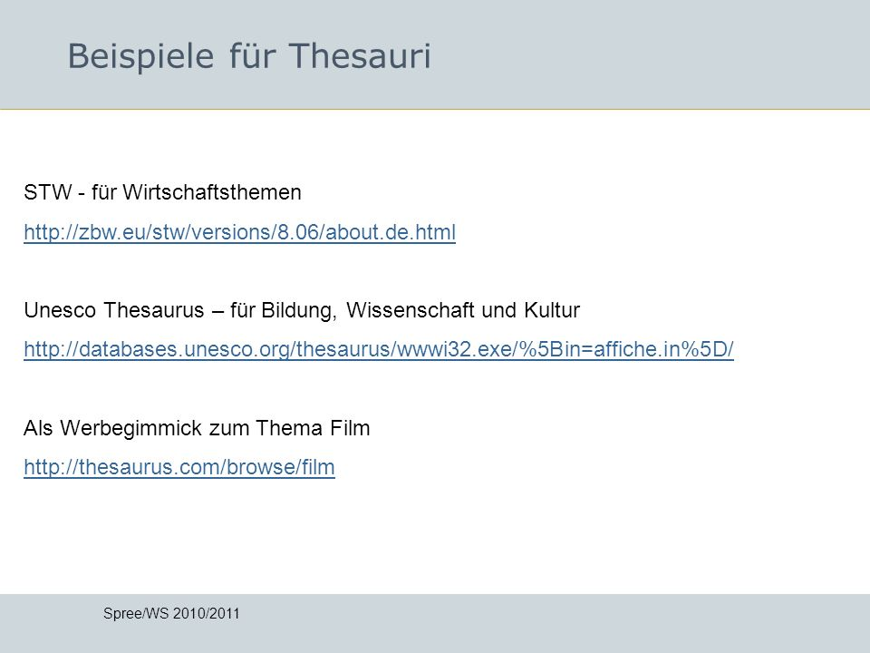 Beispiele für Thesauri