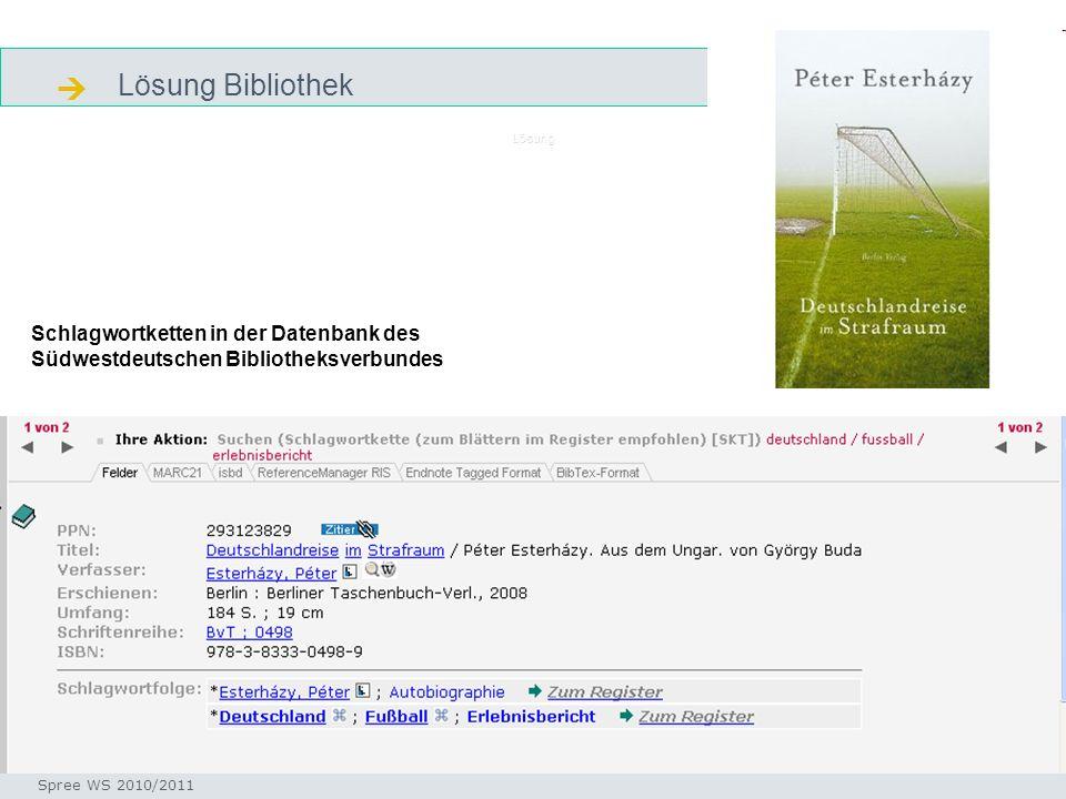  Lösung Bibliothek. Lösung. Schlagwortketten in der Datenbank des Südwestdeutschen Bibliotheksverbundes.
