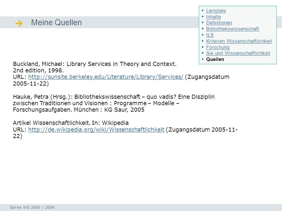 Lernziele Inhalte. Definitionen. Bibliothekswissenschaft. ILS. Kriterien Wissenschaftlichkeit. Forschung.
