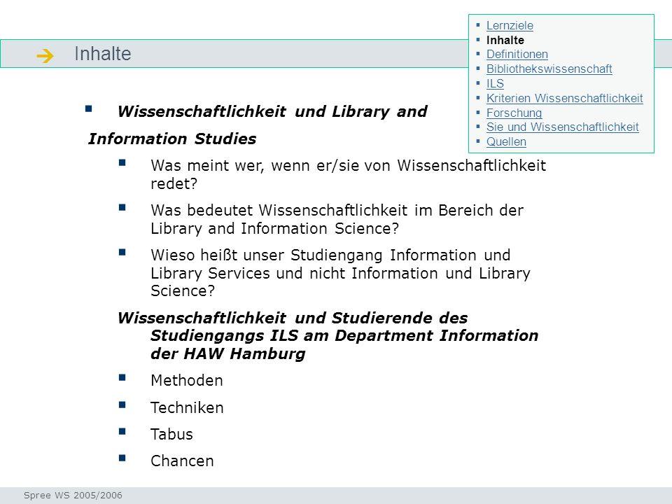  Inhalte Wissenschaftlichkeit und Library and Information Studies