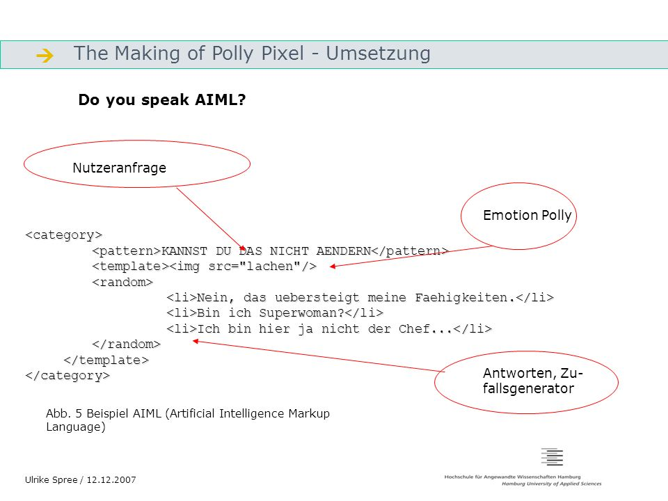  The Making of Polly Pixel - Umsetzung Do you speak AIML