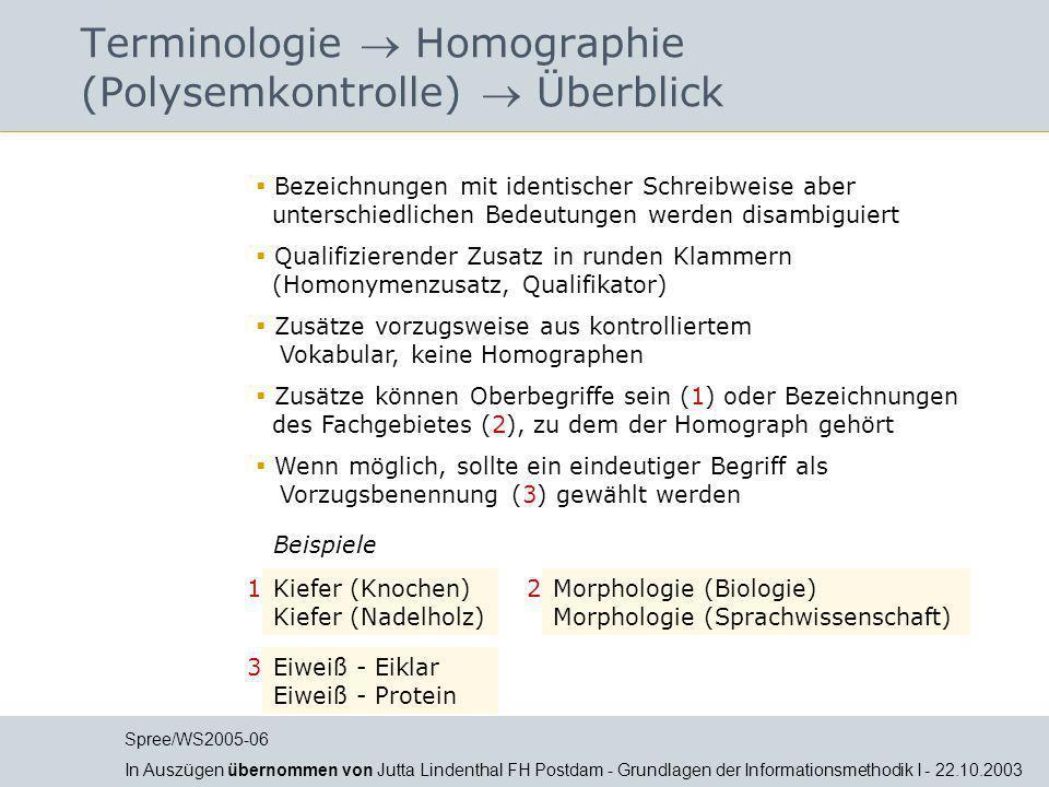 Terminologie  Homographie (Polysemkontrolle)  Überblick
