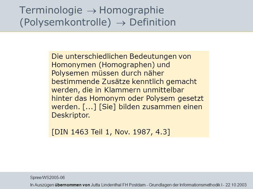 Terminologie  Homographie (Polysemkontrolle)  Definition