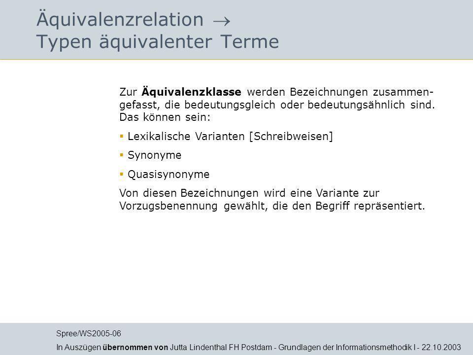 Äquivalenzrelation  Typen äquivalenter Terme