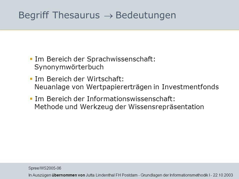 Begriff Thesaurus  Bedeutungen