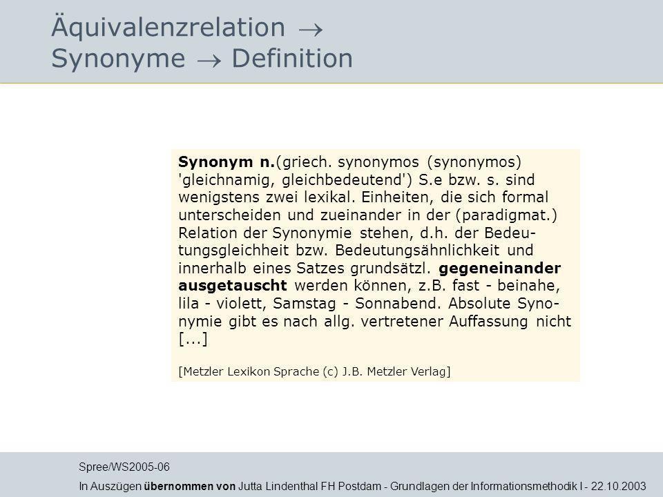 Äquivalenzrelation  Synonyme  Definition