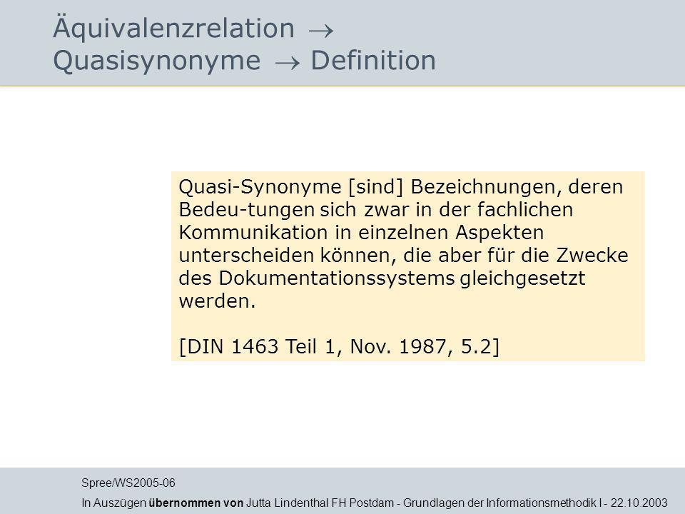 Äquivalenzrelation  Quasisynonyme  Definition