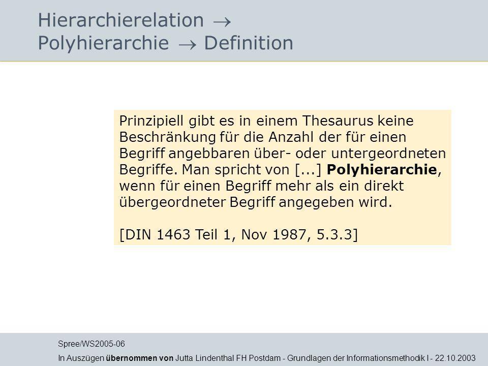 Hierarchierelation  Polyhierarchie  Definition