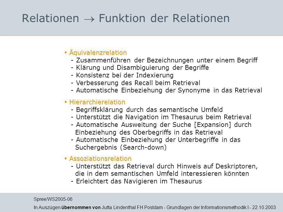 Relationen  Funktion der Relationen