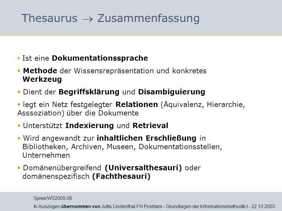 Thesaurus  Zusammenfassung