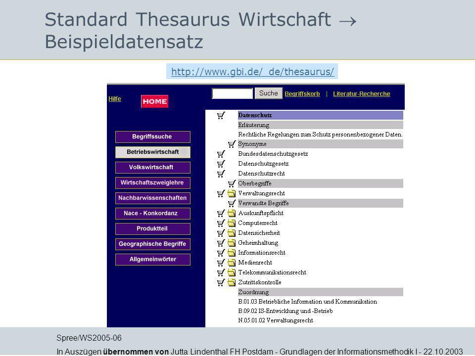Standard Thesaurus Wirtschaft  Beispieldatensatz