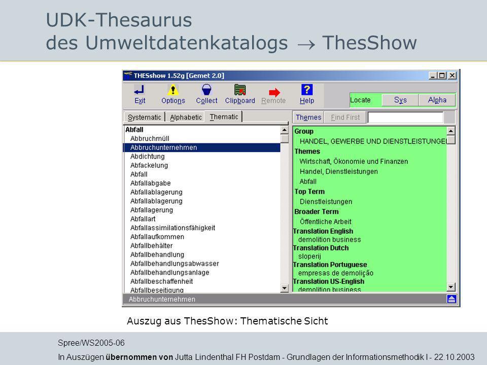 UDK-Thesaurus des Umweltdatenkatalogs  ThesShow