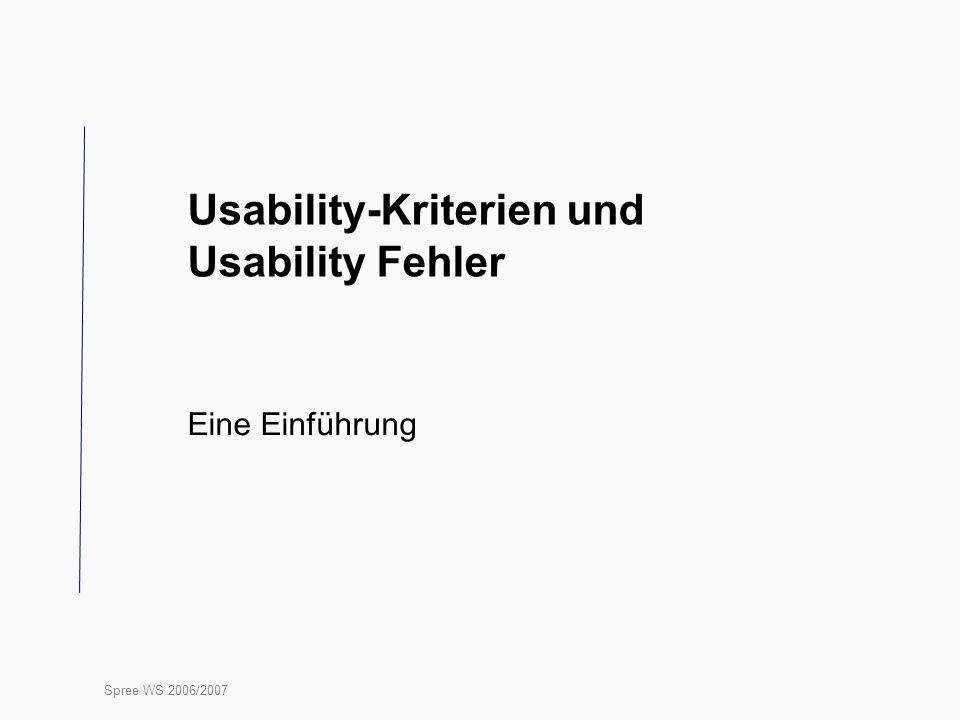 Usability-Kriterien und Usability Fehler